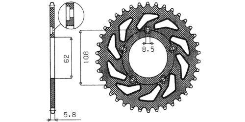 Ocelová rozeta pro sekundární řetězy typu 520, SUNSTAR (43 zubů)