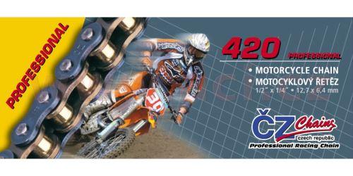 Řetěz 420MX, ČZ - ČR (barva zlatá, 104 článků vč. rozpojovací spojky CLIP)