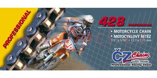Řetěz 428MX, ČZ - ČR (barva zlatá, 118 článků vč. rozpojovací spojky CLIP)