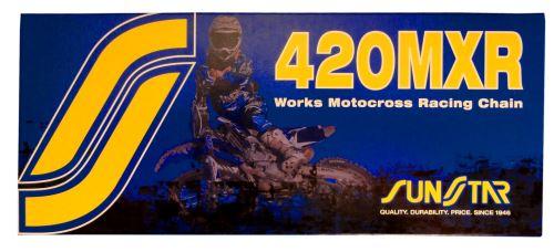 Řetěz 420MXR, SUNSTAR (bezkroužek, barva zlatá, 120 článků)