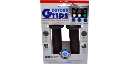 Gripy Sport, OXFORD - Anglie (černá pryž, tvrdost pryže medium, na řidítka o průměru 22 mm, pár)