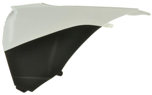 Boční kryt vzduchového filtru levý KTM, RTECH (bílo-černý)