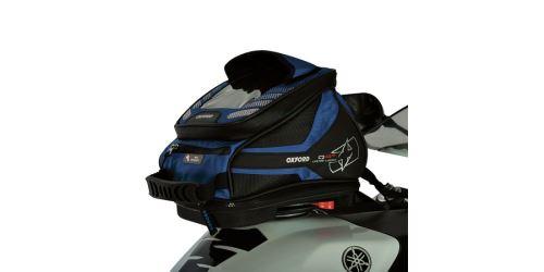 Tankbag na motocykl Q4R QR, OXFORD - Anglie (černý/modrý, s rychloupínacím systémem na víčka nádrže, objem 4 l)