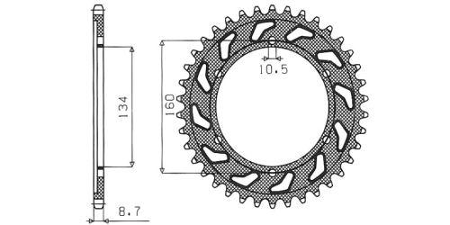 Ocelová rozeta pro sekundární řetězy typu 530, SUNSTAR (42 zubů)