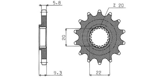 Řetězové kolečko pro sekundární řetězy typu 520, SUNSTAR (13 zubů)