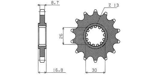 Řetězové kolečko pro sekundární řetězy typu 530, SUNSTAR (16 zubů)