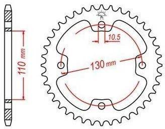 Ocelová rozeta pro sekundární řetězy typu 520, JT - Anglie (38 zubů)
