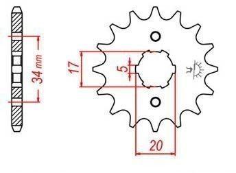 Řetězové kolečko pro sekundární řetězy typu 428, JT - Anglie (15 zubů)