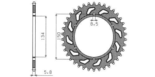 Ocelová rozeta pro sekundární řetězy typu 520, SUNSTAR (49 zubů)