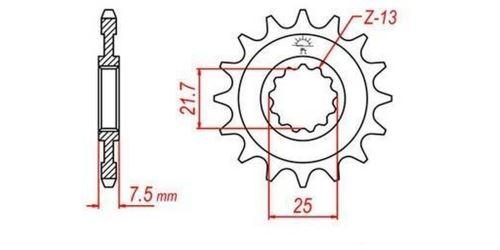 Řetězové kolečko pro sekundární řetězy typu 520, JT - Anglie (16 zubů)