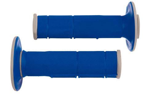 Gripy Racing (dvouvrstvé, měkké), RTECH (modro-šedé, pár, délka 116 mm)
