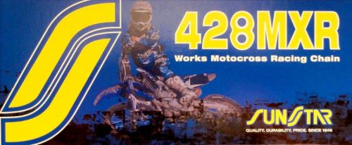 Řetěz 428MXR, SUNSTAR (bezkroužek, barva zlatá, 112 článků)