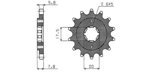 Řetězové kolečko pro sekundární řetězy typu 520, SUNSTAR (14 zubů)