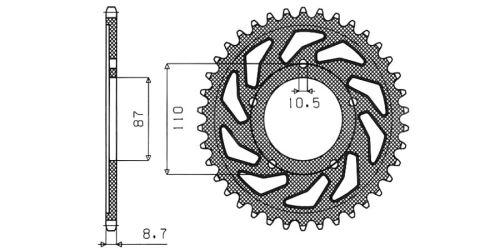 Ocelová rozeta pro sekundární řetězy typu 530, SUNSTAR (47 zubů)